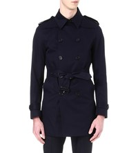 Sandro Cotton Trench Coat Navy Blue