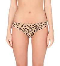 Stella Mccartney Smooth Printed Bikini Briefs Flesh Black Leopard