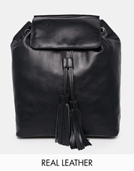Asos Leather Backpack With Oversized Tassel Black