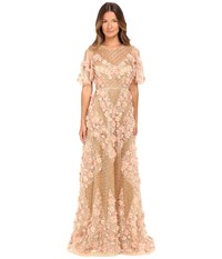 Marchesa Fully Embroidered Facetted Bead A Line Gown With Three Dimensional Textured Flowers And Flared Sleeves Blush Women's Dress Pink