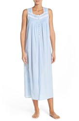 Women's Eileen West Lace Trim Cotton Ballet Nightgown Solid Light Blue Seersucker