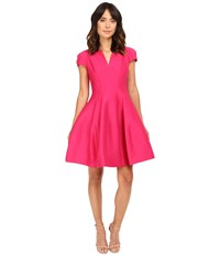 Halston Short Sleeve Notch Neck Dress With Tulip Skirt Cerise Women's Dress Red