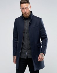 Ted Baker Overcoat With Funnel Neck Navy