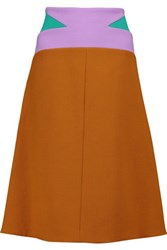 Marni Color Block Wool And Cotton Blend Skirt Camel