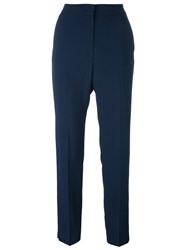 Msgm High Waisted Trousers Blue