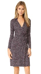 Diane Von Furstenberg New Jeanne Two Wrap Dress Pirouette Dot Navy