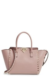 Valentino Rockstud Small Double Handle Leather Tote Coral Poudre