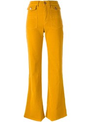 See By Chloe Corduroy Flared Trousers Yellow And Orange