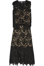 Catherine Deane Ennis Faux Leather Trimmed Lace Midi Dress Black