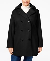 Nautica Plus Size Hooded Double Breasted Peacoat Black