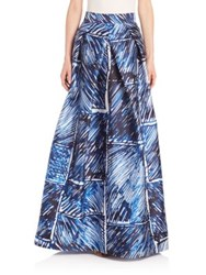 Milly Scribble Print Pleated Maxi Skirt Blue