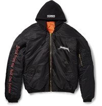 Vetements Oversized Embroidered Shell Hooded Bomber Jacket Black
