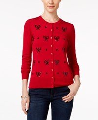 Charter Club Petite Sequinned Bow Cardigan Only At Macy's New Red Amore