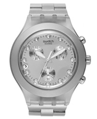 Swatch Watch Unisex Swiss Chronograph Full Blooded Silver Tone Aluminum Bracelet 43Mm Svck4038g