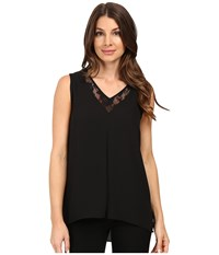 Vince Camuto Sleeveless Lace Front High Low Hem Blouse Black Women's Clothing