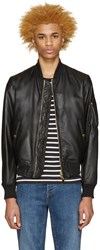 Burberry Black Leather Raleigh Bomber Jacket