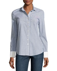Derek Lam Striped And Solid Button Down Shirt Blue Pattern