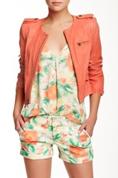 Alice Olivia Cam Zipper Sleeve Leather Biker Jacket Orange