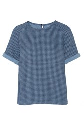 Mih Jeans Textured Cotton Top Blue