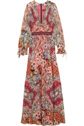 Etro Embellished Printed Silk Gown Burgundy