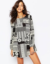 Reclaimed Vintage Long Sleeve Tunic Dress With Tie Back Detail In Mosaic Tile Print Blackwhite