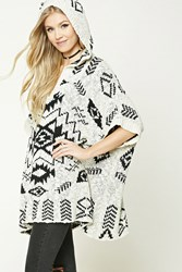 Forever 21 Southwestern Hooded Poncho Oatmeal Black
