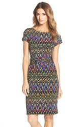 Print Jersey Sheath Dress Regular And Petite Black Multi