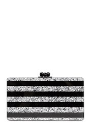 Edie Parker Jean Striped Black And Silver Box Clutch