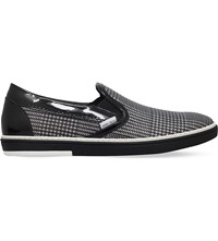 Jimmy Choo Grove Houndstooth Slip On Leather Trainers Blk White