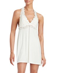 Flora Nikrooz Jersey And Lace Chemise Ivory