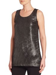 Armani Collezioni Metallic Net Jersey Tank Top Grey Black