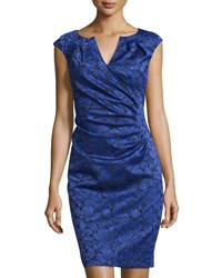 Adrianna Papell Floral Jacquard Sheath Dress Iris Purple