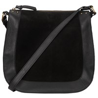 Pieces Pearl Large Suede Across Body Bag Black