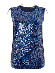 Sportmax Juglas Sleeveless Sequin Front Top Navy