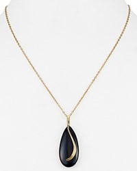 Nancy B Chain Swirl Pendant Necklace 18 Black Onyx Gold