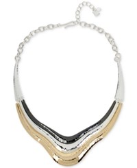 Robert Lee Morris Soho Tri Tone Sculptural Collar Necklace Tri Toned
