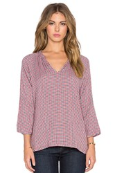 Velvet By Graham And Spencer Tamra Double Face Gingham Long Sleeve V Neck Top Red