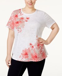 Inc International Concepts Plus Size Appliqued T Shirt Only At Macy's Polished Coral