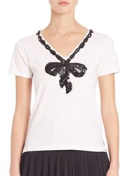 Marc Jacobs Embroidered V Neck Tee White