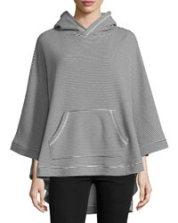 Neiman Marcus Active Oversized Striped High Low Poncho Black White