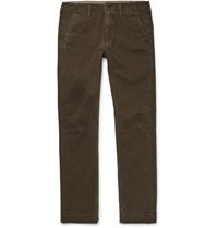 Jean Shop Leon Slim Fit Cotton Twill Trousers Green