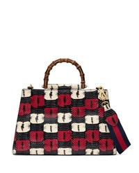 Gucci Nymphea Medium Bamboo Handle Tote Bag Blue White Red Blue White