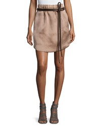 Brunello Cucinelli Belted Silk Active Skirt Brown