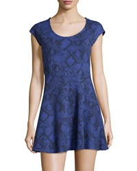 Splendid Python Print Fit And Flare Dress Blue Jay