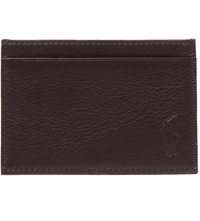 Ralph Lauren Pony Embossed Leather Card Case Brown