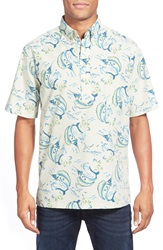 Reyn Spooner 'Leap Of Fish' Relaxed Fit Short Sleeve Pullover Sport Shirt Chalk