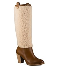 Ugg Ava Sheepskin And Leather Tall Boots Chestnut