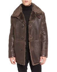 Vince Leather Shearling Lined Coat Brown