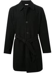 Aganovich Belted Buttoned Coat Black