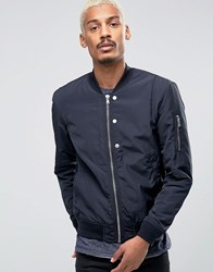 Esprit Quilted Nylon Bomber Jacket In Navy Navy